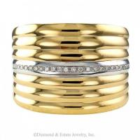 Contemporary, Estate, Wide Gold and Diamond Hinged Cuff Bracelet.