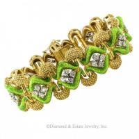 1970's pistachio-green enamel gold and diamond link bracelet