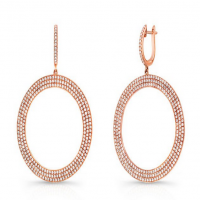 2.03ct Micro Pave Diamond Drop Hoop Earrings in 18k Rose Gold