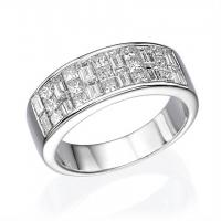 18K White Gold Ladies Fashion Ring with 1.69ctw Princess & Baguette Cut Diamonds