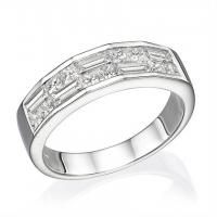 18K White Gold Ladies Fashion Ring 1.21ctw Baguette Diamonds