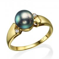 14K Yellow Gold Tahitian Pearl Ladies Fashion Ring with .05ctw Round Diamonds