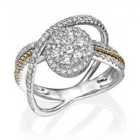 18K White & Yellow Gold Ladies Fashion Ring with 1.03ctw Round Diamonds