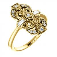 14k yellow 1/6 ctw diamond vintage-inspired ring
