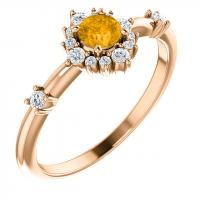 14K Rose Citrine & 1/6 CTW Diamond Ring