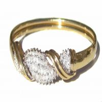 Solid 14K Gold and Diamond Bangle Bracelet