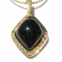 18K Black Onyx Diamond Pendant