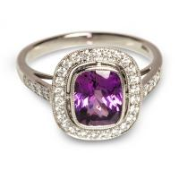 Platinum And Purple/Pink Sapphire Antique-Style Ring