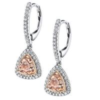 diamond earrings with trillion morganite