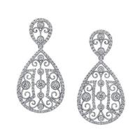 Unique white gold fashion earrings