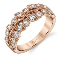 Floral inspired rose gold wedding band