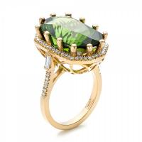 Custom tourmaline and diamond halo fashion ring
