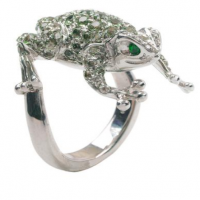 adolofo courrier diamond & sapphire lucky frog ring