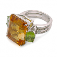 antonini antartica citrine, peridot & diamond ring