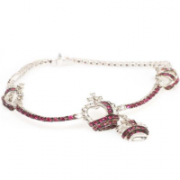 ADOLFO COURRIER RUBY AND DIAMOND CROWN BRACELET