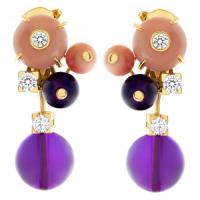Cartier Delices de Goa earrings in 18k with diamonds, coral and amethyst