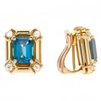 Beautiful 14k gold square earing set with blue topaz and diamond accents