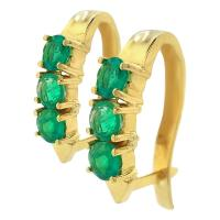 0.80CT ORBED EMERALD 18K YELLOW GOLD HUGGIES EARRINGS