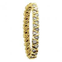 14K YELLOW GOLD 10.CT ROUND DIAMOND BOX LINK ZIGZAG DESIGN TENNIS BRACELET