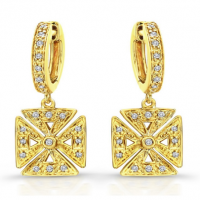 14K YELLOW GOLD DIAMOND CHOPPER EARRINGS