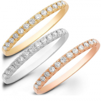 14K WHITE, YELLOW, AND ROSE GOLD STACKABLE DIAMOND RING SET