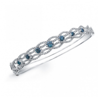 14K WHITE GOLD TREATED BLUE DIAMOND WAVE BANGLE