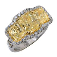 Astonishing 5ct fancy yellow diamond ring - v13207