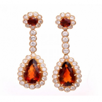 Estate Diamond Madeira Citrine 18K Gold Pendant Earrings