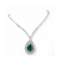 Stunning 48.05cts Emerald & Diamond Riviera Pendant Necklace