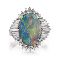 Estate White Opal Diamond Platinum Cocktail Ring