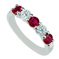 18KW RUBY & DIAMOND BAND 3R=1.00CT 2D=.42CT