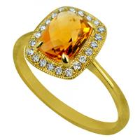 14KY RECTANGLE CUSHION CITRINE RING 22D=.11CT