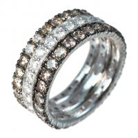 oxidized white gold and diamonds band set