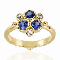 18K Yellow Gold Trio Ring with Blue Sapphire and Diamond