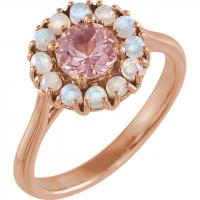 14K Rose Morganite & Ethiopian Opal Halo-Style Ring