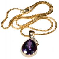 14kt y/g 9.82 cts Amethyst & Diamond necklace