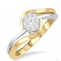 1/5 ct Two Tone Split Shank Lovebright Diamond Cluster Ring in 14K Yellow and White Gold