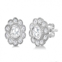 1/2 Ctw Rose Cut Diamond Fashion Stud Earrings in 14K White Gold
