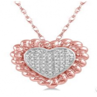 1/20 Ctw Cutwork Heart Round Cut Diamond Pendant in 10K Pink Gold with chain