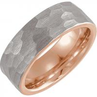 Tungsten & 18K Rose Gold PVD 6mm Band with Hammered Finish Size 11