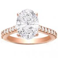 Kendalia 14K Hidden Halo Oval Engagement Ring In; .30 Ctw