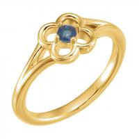 14K Yellow Blue Sapphire Flower Youth Ring