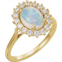 14K Yellow Pink Coral & 3/8 CTW Diamond Ring