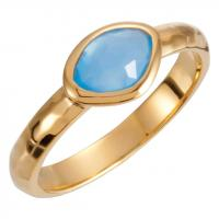 18K Vermeil 7x5x4mm Blue Chalcedony Ring Size 8