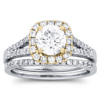 CERTIFIED 1 5/8 Carat Diamond Halo Wedding Se...