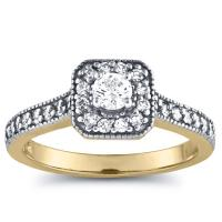 1/2 carat diamond halo ring in gold
