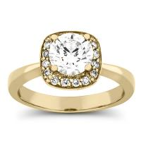 1 3/8 carat diamond halo engagement ring in gold
