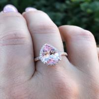 2.37 ct pear shape morganite rose gold ring w/ diamond 1/2 way band
