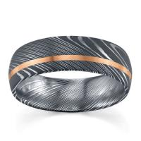Lashbrook Damascus Steel and 14k Rose Gold 7 mm Wedding Band