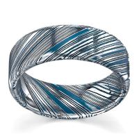 Lashbrook Damascus Steel 8 mm Comfort Fit Wedding Band With Sky Blue Cerakote
